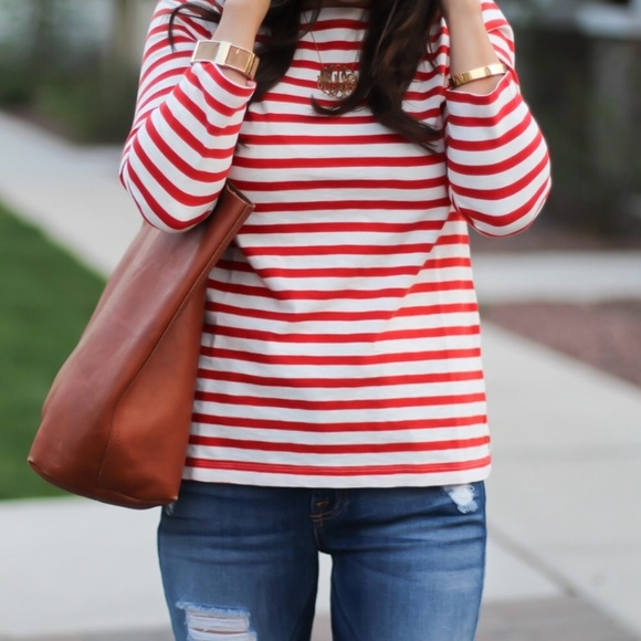 2d194a4084add2 J. Crew Tops   J Crew Striped Boatneck Tshirt In Red White   Poshmark